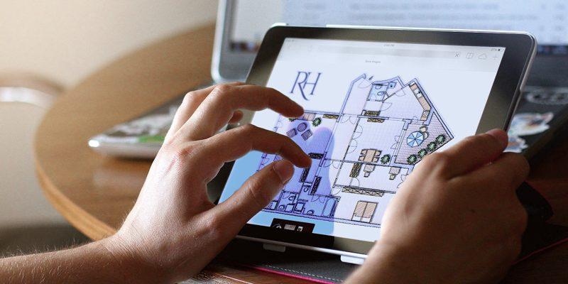 Grundriss einer Immobilie auf IPad